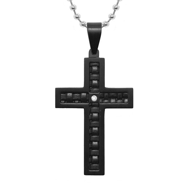 Mens Diamond-Accent Stainless Steel & Leather Cross Pendant Necklace
