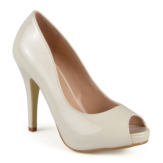 Journee Collection Womens Lowis Peep-Toe Patent Pumps