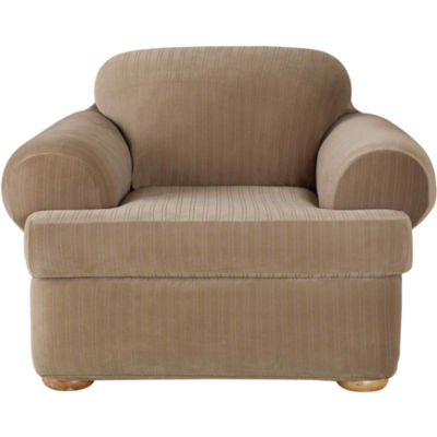 SURE FIT® Stretch Pinstripe 2-pc. T-Cushion Chair Slipcover