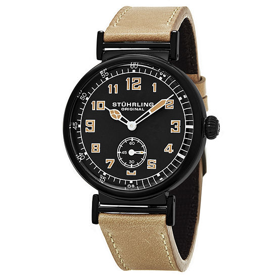 Stuhrling Mens Brown Leather Strap Watch-Sp16250