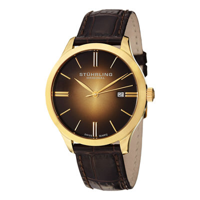 Stuhrling Mens Brown Strap Watch-Sp12461