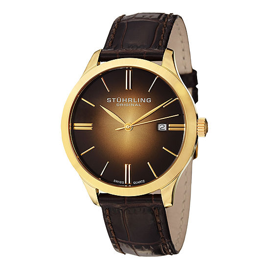 Stuhrling Mens Brown Leather Strap Watch-Sp12461