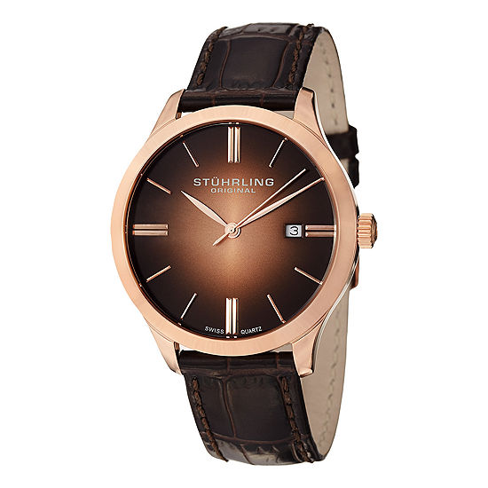 Stuhrling Mens Brown Leather Strap Watch-Sp12462