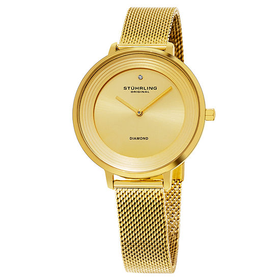 Stuhrling Womens Gold Tone Stainless Steel Strap Watch-Sp15763