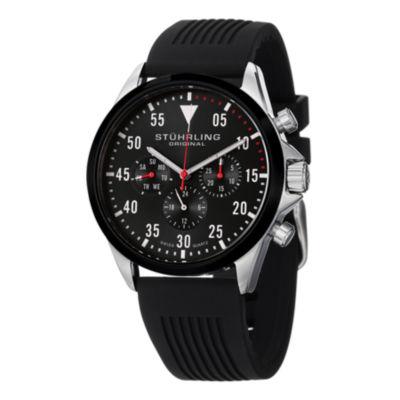 Stuhrling Mens Black Strap Watch-Sp14971