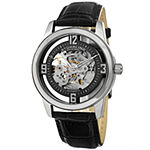 Stuhrling Mens Automatic Black Leather Strap Watch-Sp15351