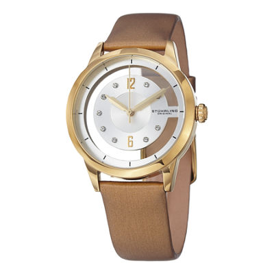 Stuhrling Womens Gold Tone Strap Watch-Sp15173