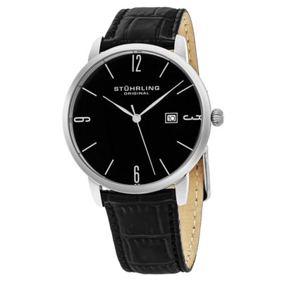 Stuhrling Mens Black Strap Watch-Sp15662