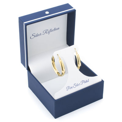 Sparkle Allure Gold Over Brass Click-Top 30mm Hoop Earrings