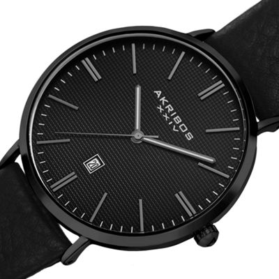 Akribos XXIV Mens Black Strap Watch-A-935bk