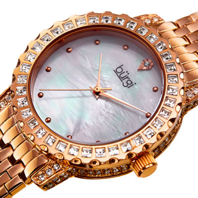 Burgi Womens Rose Goldtone Strap Watch-B-176rg