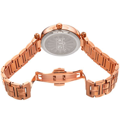 Burgi Womens Rose Goldtone Strap Watch-B-183rg
