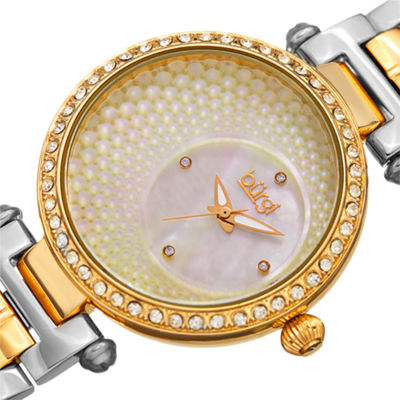Burgi Womens Two Tone Strap Watch-B-183ttg
