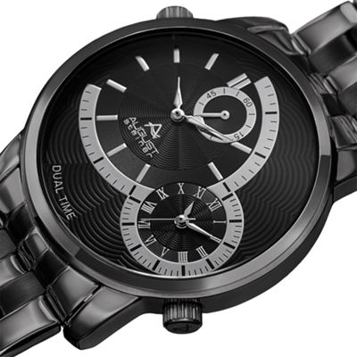 August Steiner Mens Black Strap Watch-As-8210bk