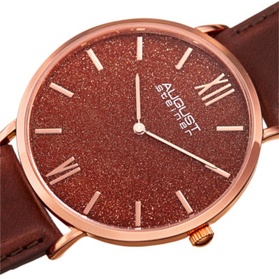 August Steiner Mens Brown Strap Watch-As-8211rgrd