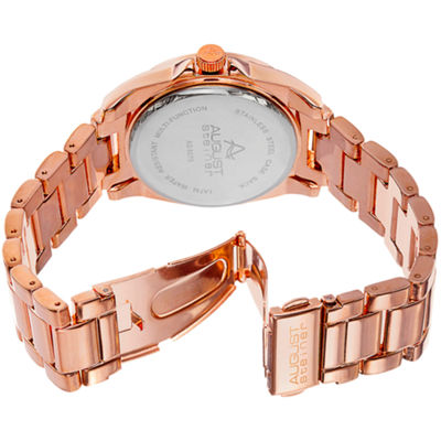 August Steiner Womens Rose Goldtone Strap Watch-As-8075rg