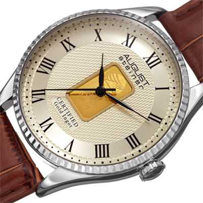 August Steiner Mens Brown Strap Watch-As-8217ssbr
