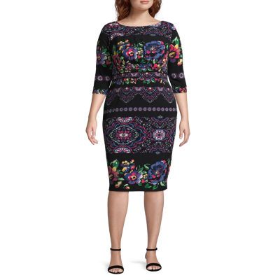Melrose 3/4 Sleeve Shift Dress - Plus