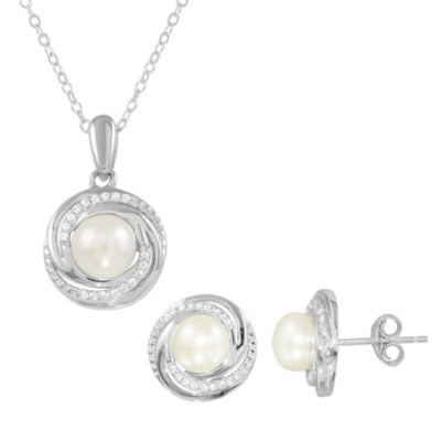 Womens 2-pc. White Sterling Silver Jewelry Set