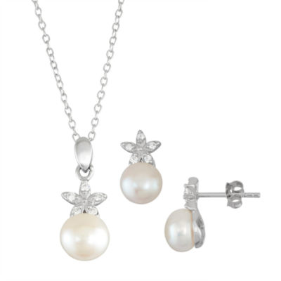 Womens White Cultured Freshwater Pearl Sterling Silver Flower 2-pc. Jewelry Set