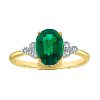 Womens Green Emerald 10K Gold Cocktail Ring