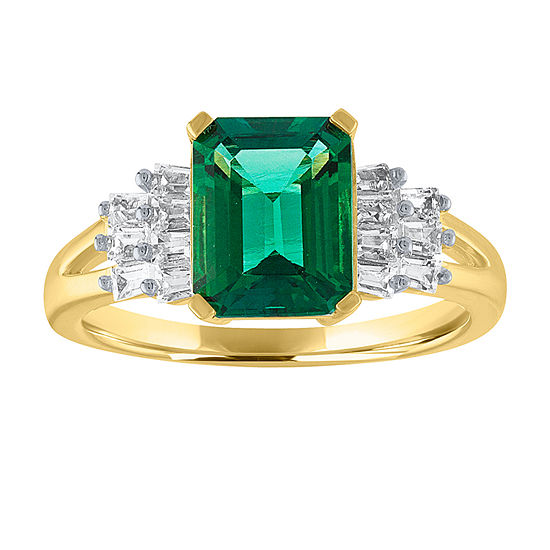 Womens Genuine Green Emerald 14K Gold Over Silver Cocktail Ring