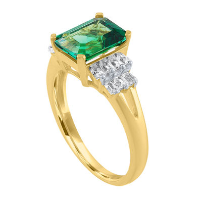 Womens Green Emerald 14K Gold Over Silver Cocktail Ring
