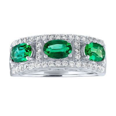 Womens Green Emerald Sterling Silver Cocktail Ring