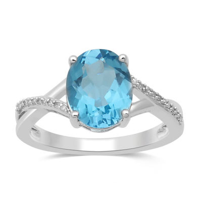 Womens Blue Topaz 10K Gold Cocktail Ring