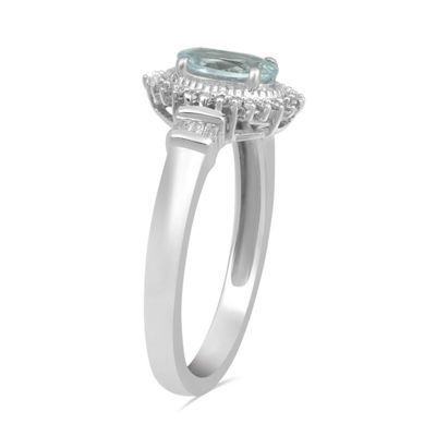 Womens Genuine Blue Aquamarine 10K White Gold Cocktail Ring