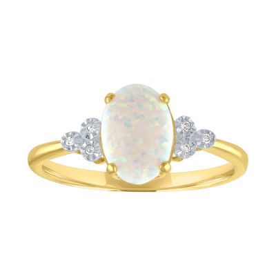 Womens Multi Color Opal 10K Gold Cocktail Ring