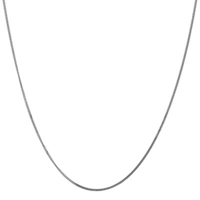 14K White Gold Solid Curb Chain Necklace