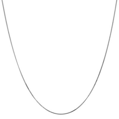 14K White Gold Solid Curb 16 Inch Chain Necklace