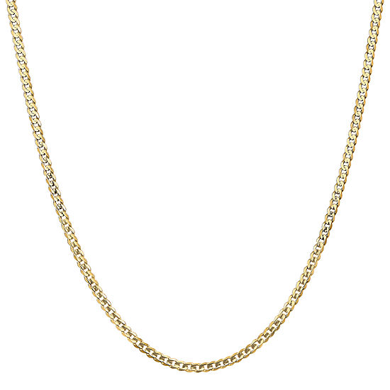 14K Gold 24 Inch Solid Curb Chain Necklace