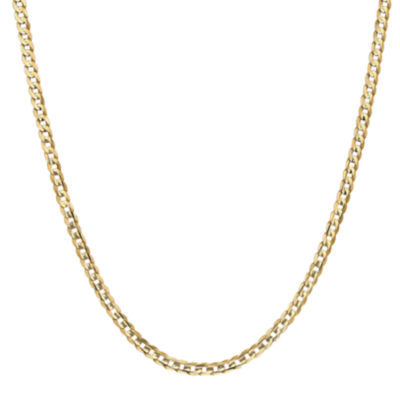 14K Gold Solid Curb 24 Inch Chain Necklace
