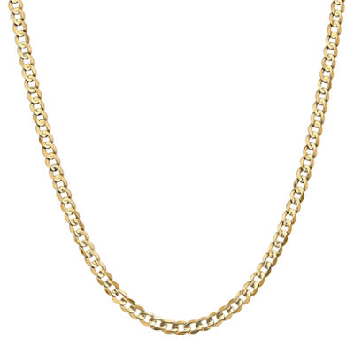 14K Gold 22 Inch Solid Curb Chain Necklace