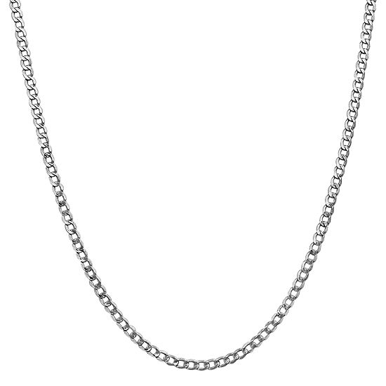14K White Gold Semisolid Curb Chain Necklace