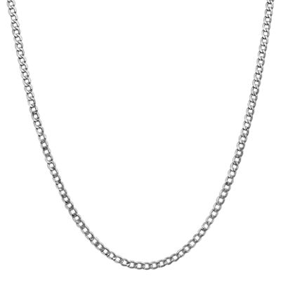 14K White Gold 16 Inch Semisolid Curb Chain Necklace