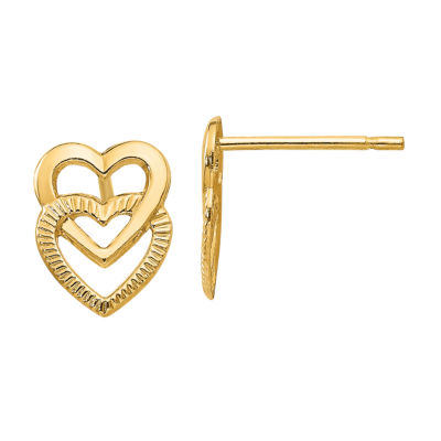 14K Gold 9mm Heart Stud Earrings