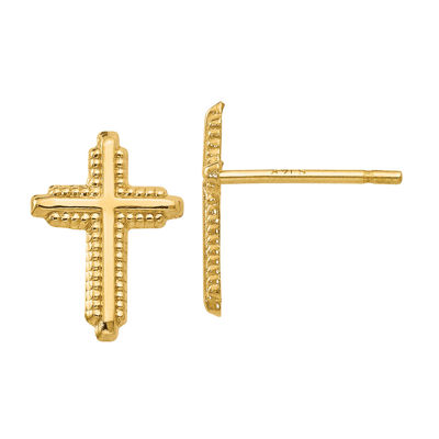 14K Gold 10mm Cross Stud Earrings