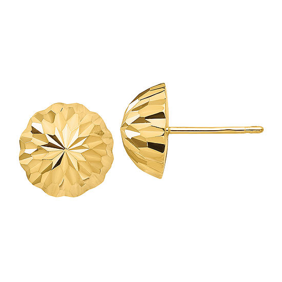 14K Gold 9.5mm Round Stud Earrings