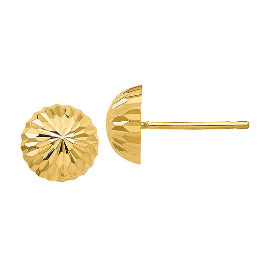 14K Gold 8mm Round Stud Earrings