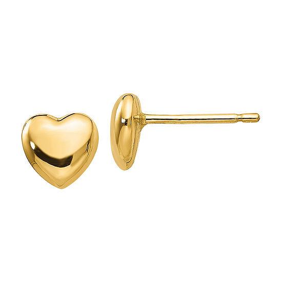 14K Gold 6mm Heart Stud Earrings