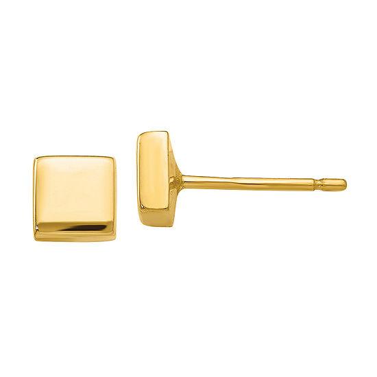 14K Gold 4.5mm Square Stud Earrings