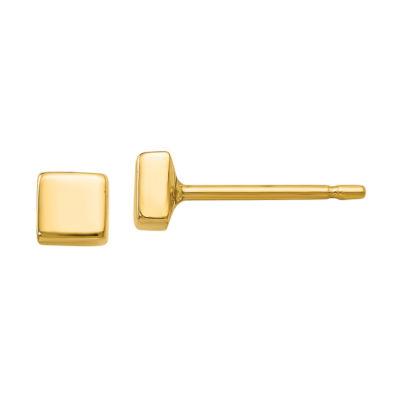 14K Gold 3.5mm Square Stud Earrings