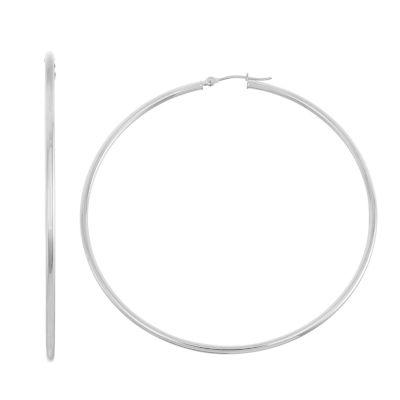 14K White Gold 45mm Hoop Earrings
