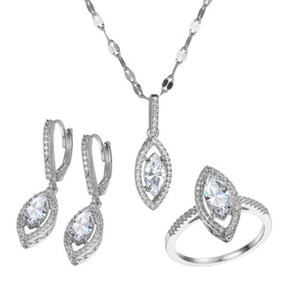 Diamonart Womens Lab Created White Cubic Zirconia Sterling Silver 3-pc. Jewelry Set