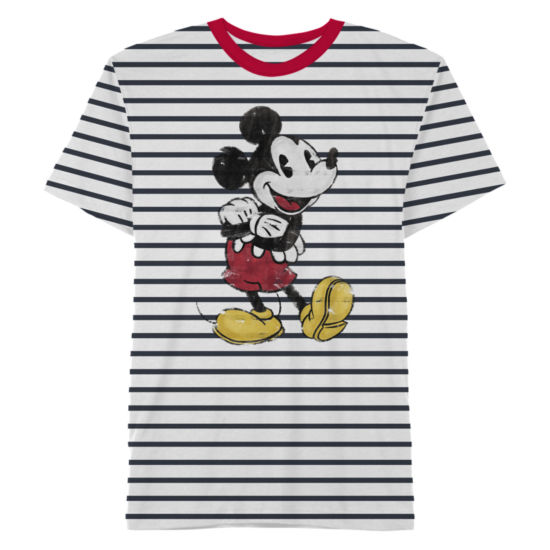 Mickey Mouse Striped Graphic Tee