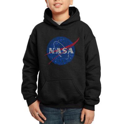 Los Angeles Pop Art Boy's Word Art Hooded Sweatshirt - NASA's Most Notable Missions