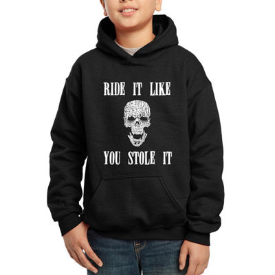 Los Angeles Pop Art Boy's Word Art Hooded Sweatshirt - Ride It Like You Stole It